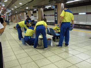 Cleaning a bench in Tokyio's subway